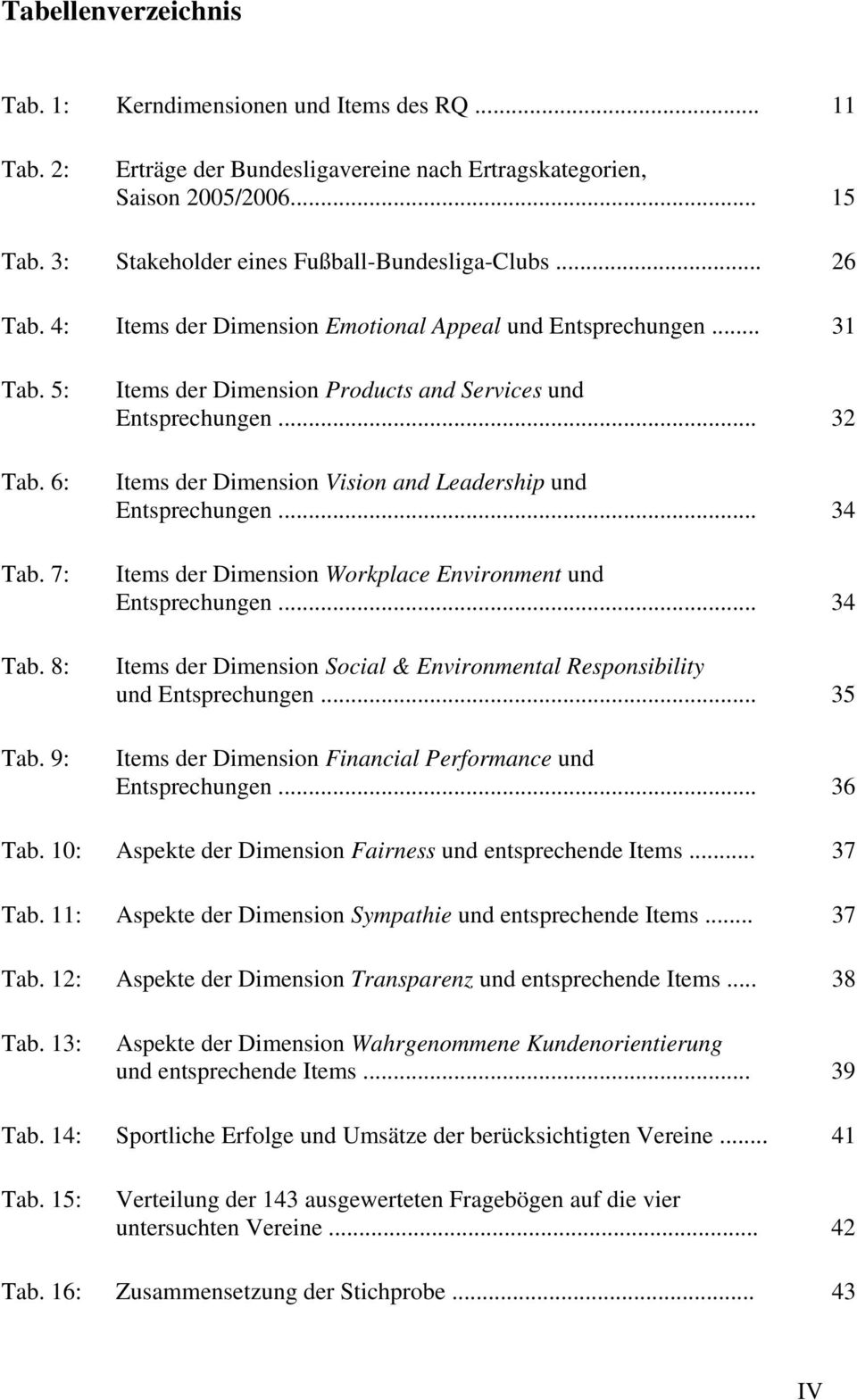 9: Items der Dimension Products and Services und Entsprechungen... 32 Items der Dimension Vision and Leadership und Entsprechungen... 34 Items der Dimension Workplace Environment und Entsprechungen.