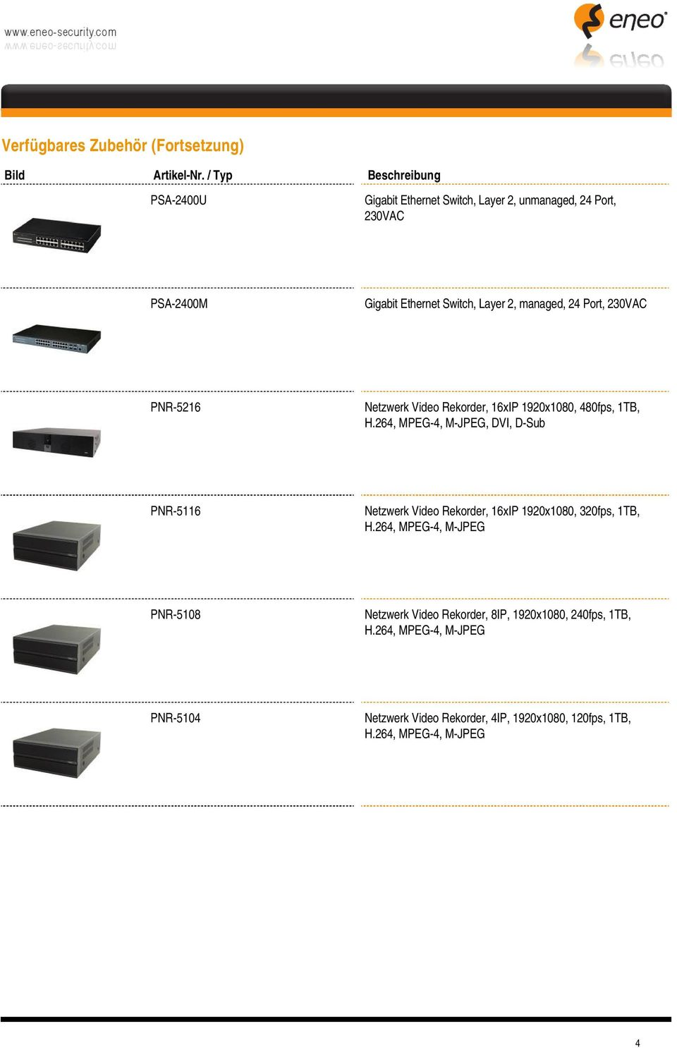 Switch, Layer 2, managed, 24 Port, 230VAC PNR-5216 Netzwerk Video Rekorder, 16xIP 1920x1080, 480fps, 1TB,, DVI, D-Sub