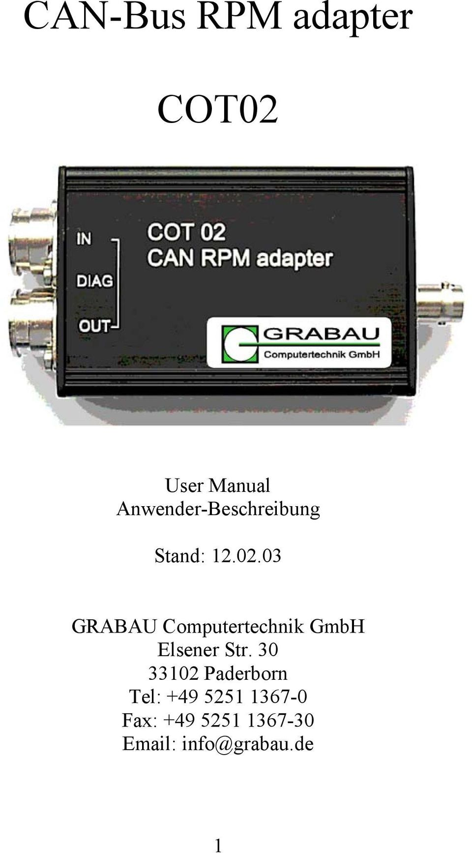 03 GRABAU Computertechnik GmbH Elsener Str.