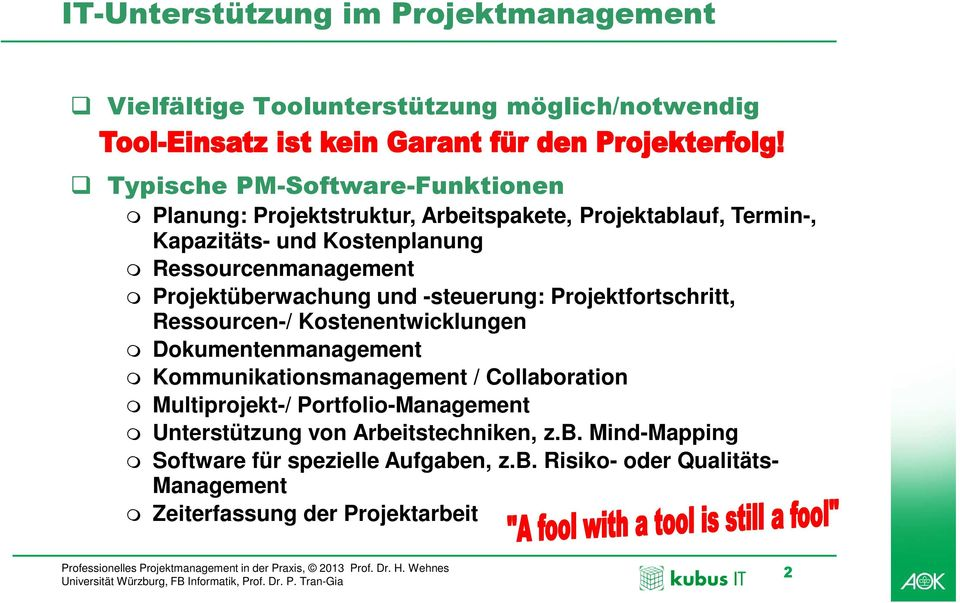 Ressourcen-/ Kostenentwicklungen Dokumentenmanagement Kommunikationsmanagement / Collaboration Multiprojekt-/ Portfolio-Management Unterstützung