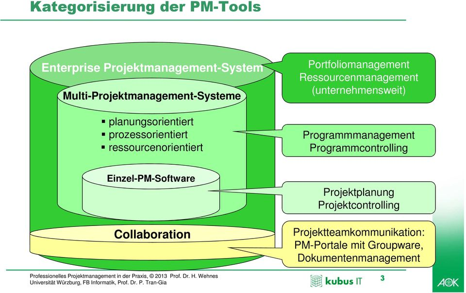 (unternehmensweit) Programmmanagement Programmcontrolling Einzel-PM-Software Collaboration