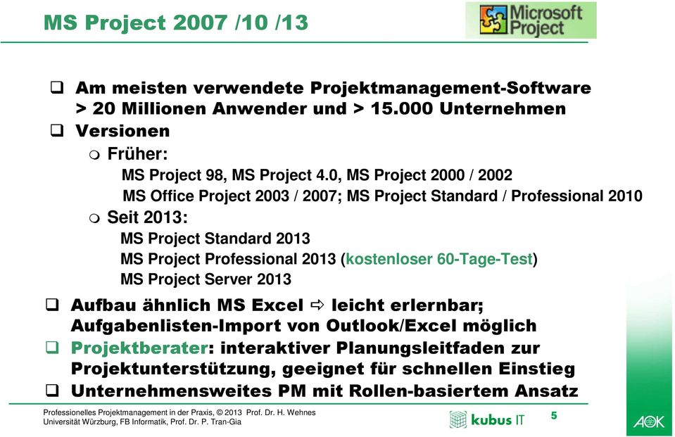 0, MS Project 2000 / 2002 MS Office Project 2003 / 2007; MS Project Standard / Professional 2010 Seit 2013: MS Project Standard 2013 MS Project Professional