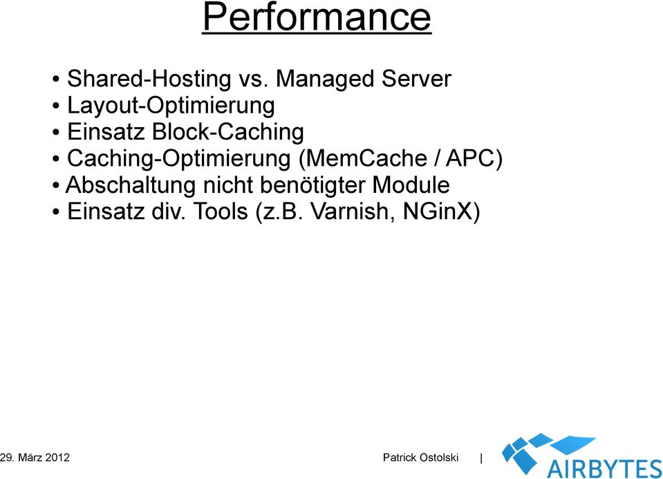 Block-Caching Caching-Optimierung (MemCache /