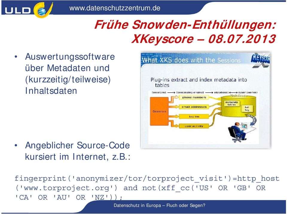 2013 Angeblicher Source-Code kursiert im Internet, z.b.: fingerprint('anonymizer/tor/torproject_visit')=http_host ('www.