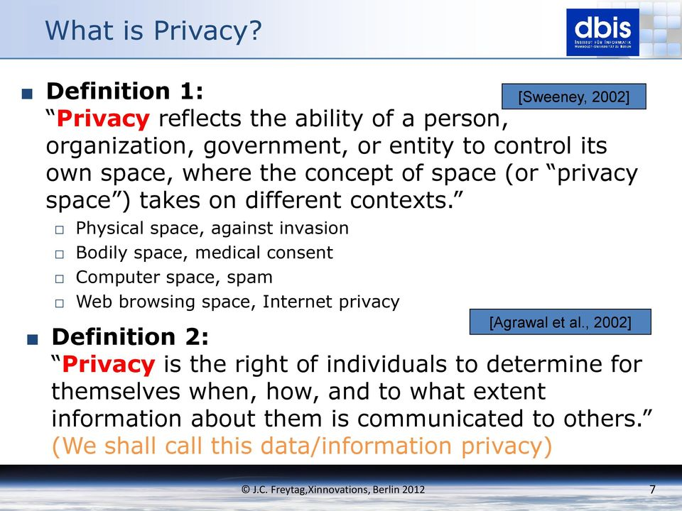 concept of space (or privacy space ) takes on different contexts.