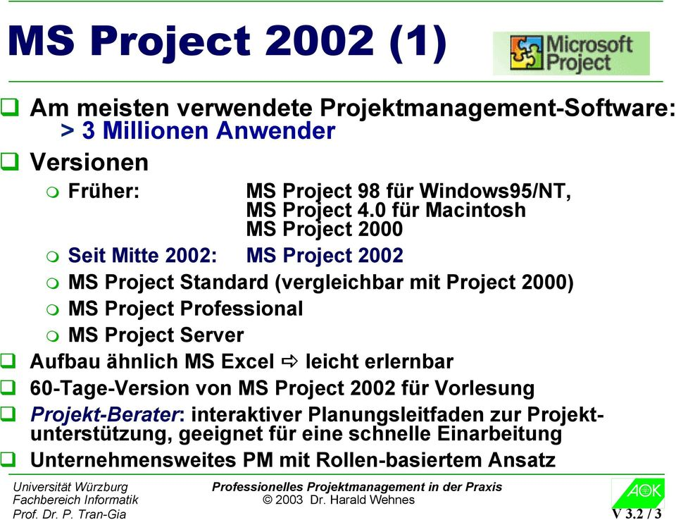 0 für Macintosh MS Project 2000 Seit Mitte 2002: MS Project 2002 MS Project Standard (vergleichbar mit Project 2000) MS Project Professional MS