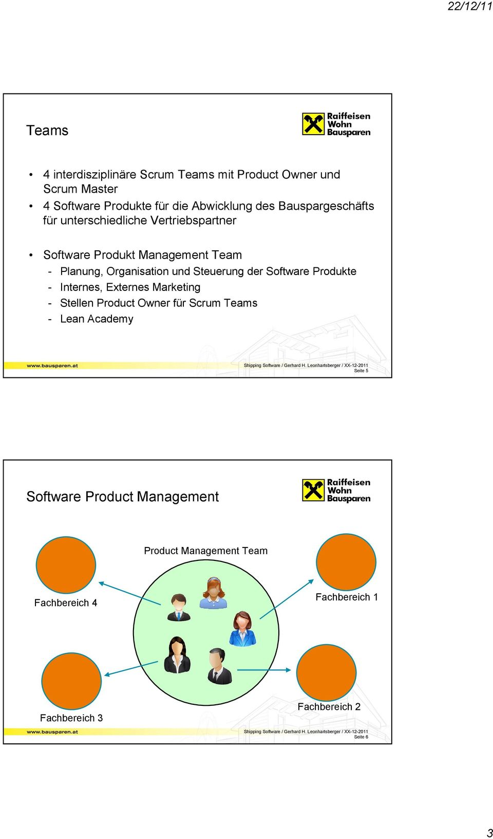 Steuerung der Software Produkte - Internes, Externes Marketing - Stellen Product Owner für Scrum Teams - Lean Academy