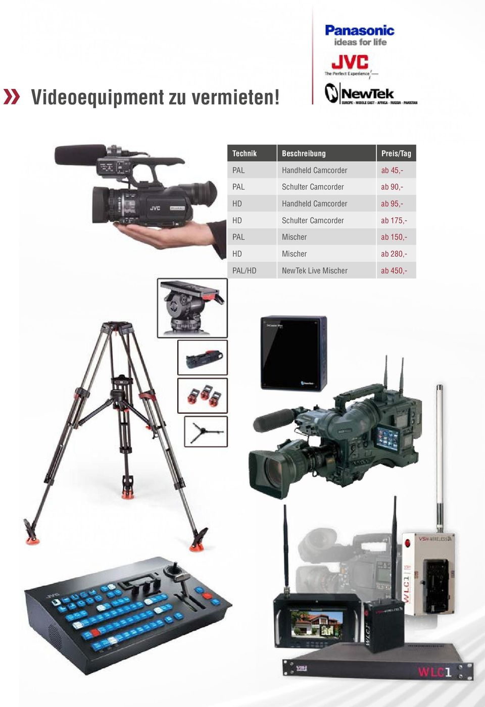 PAL Schulter Camcorder ab 90,- HD Handheld Camcorder ab 95,- HD
