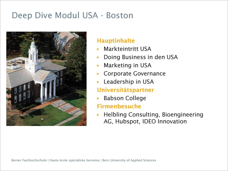 Leadership in USA Universitätspartner Babson College
