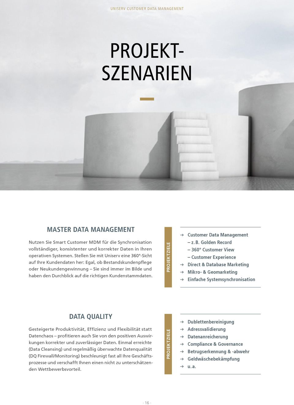 Kundenstammdaten. Projektziele Customer Data Management z. B.