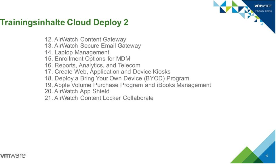 Create Web, Application and Device Kiosks 18. Deploy a Bring Your Own Device (BYOD) Program 19.