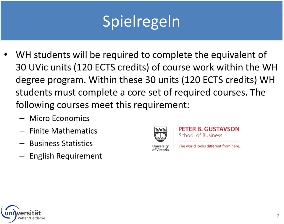 Within these 30 units (120 ECTS credits) WH students must complete a core set of required