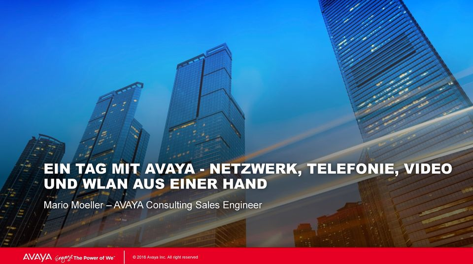 AVAYA Consulting Sales Engineer 2016 2016