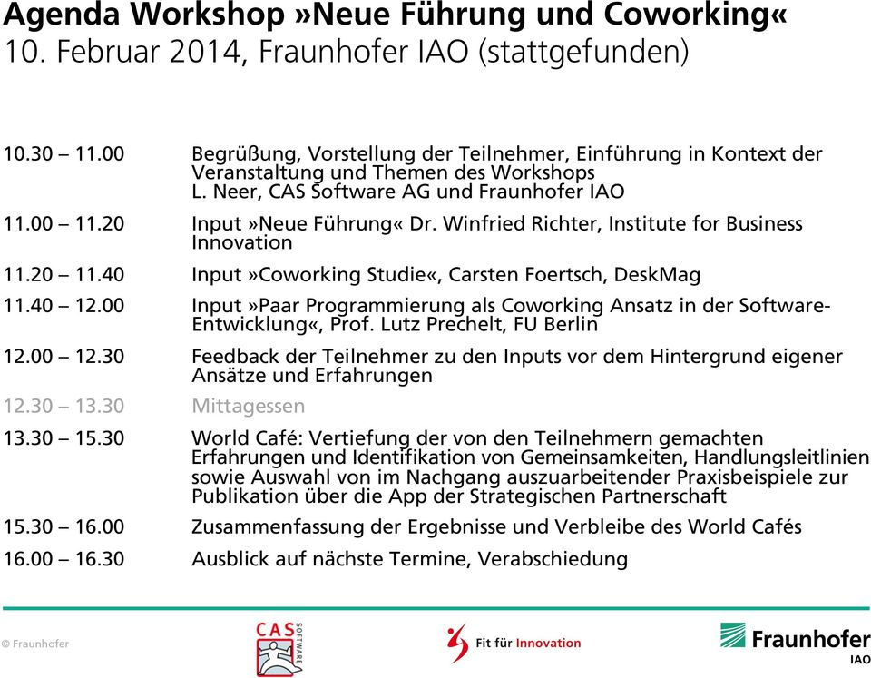 Winfried Richter, Institute for Business Innovation 11.20 11.40 Input»Coworking Studie«, Carsten Foertsch, DeskMag 11.40 12.