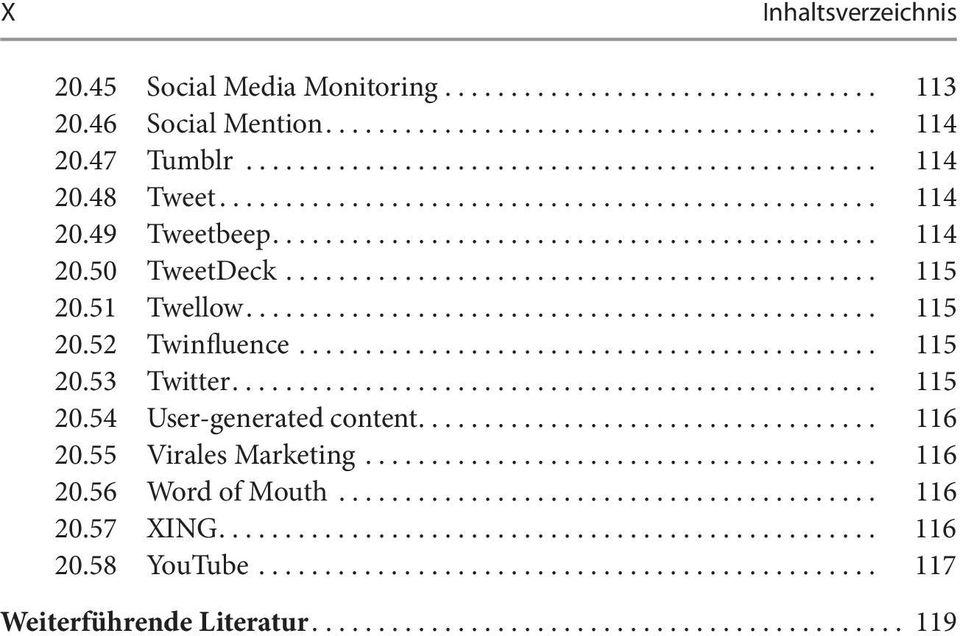 .. 115 20.53 Twitter... 115 20.54 User-generated content... 116 20.55 Virales Marketing... 116 20.56 Word of Mouth.