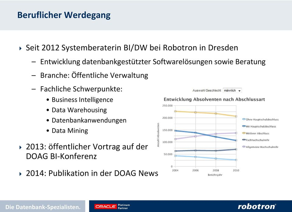 Fachliche Schwerpunkte: Business Intelligence Data Warehousing Datenbankanwendungen Data