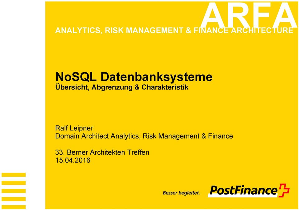 Charakteristik Ralf Leipner Domain Architect Analytics,
