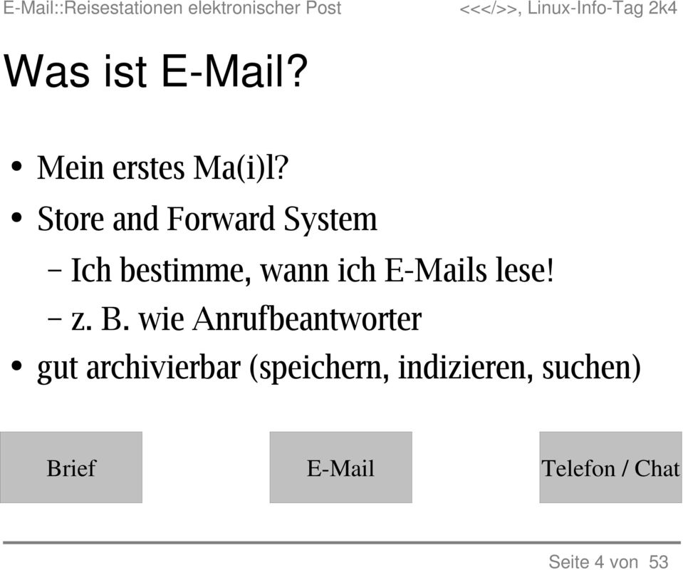 E-Mails lese! z. B.