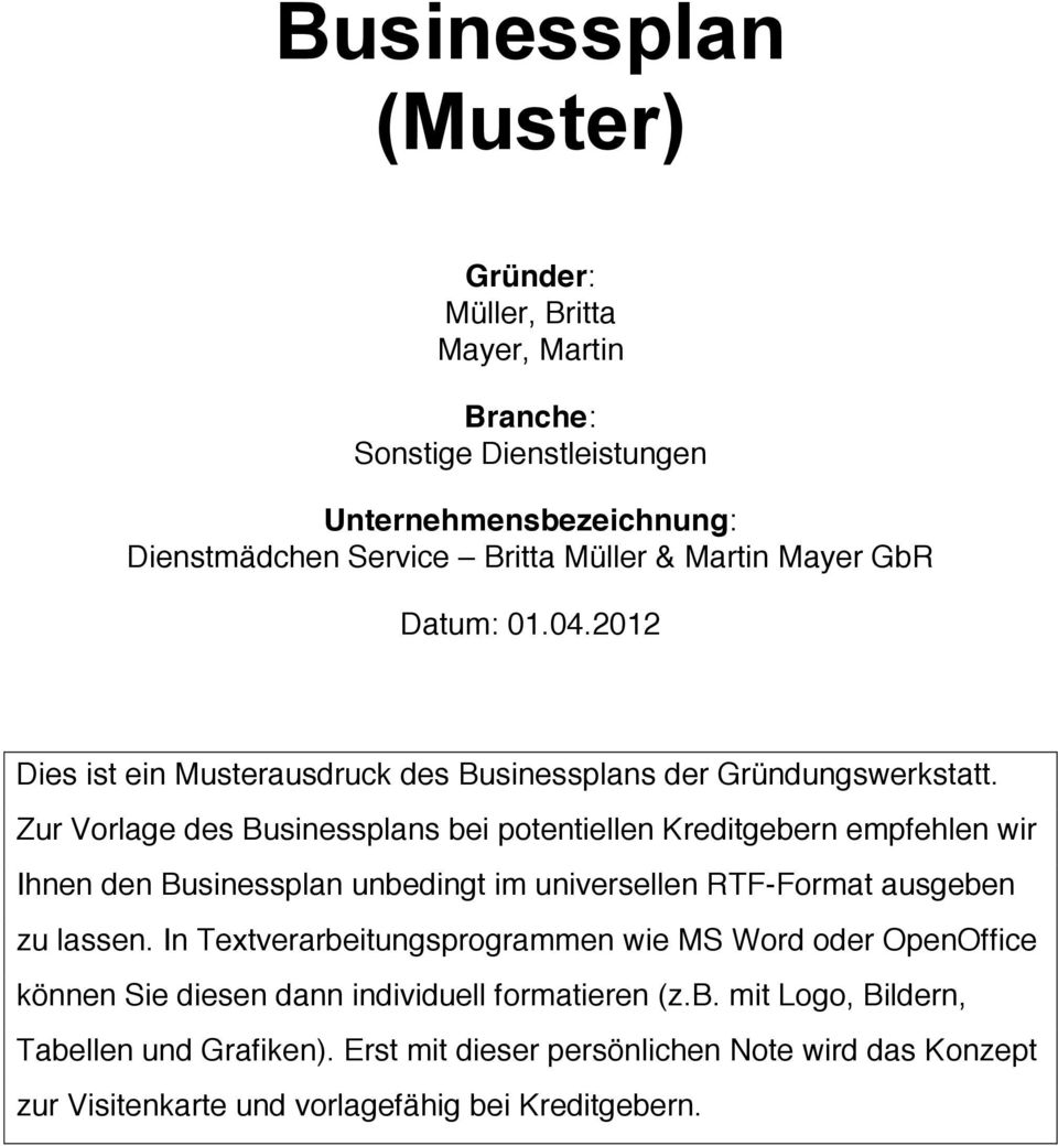 Businessplan (Muster) - PDF