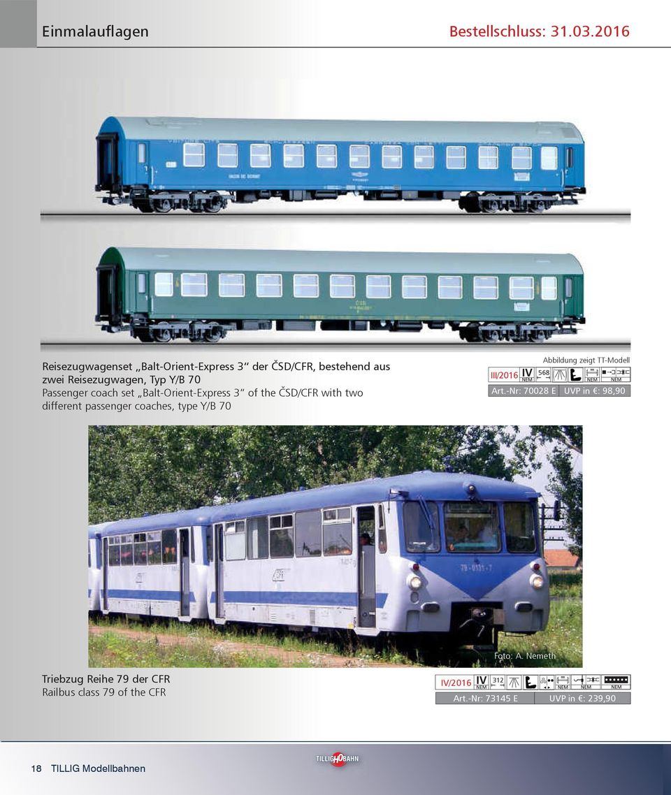 coach set Balt-Orient-Express 3 of the ČSD/CFR with two different passenger coaches, type Y/B 70 III/2016 568