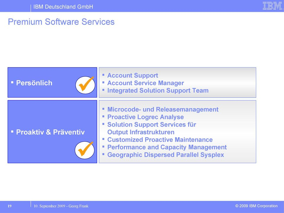 Analyse Solution Support Services für Output Infrastrukturen Customized Proactive Maintenance