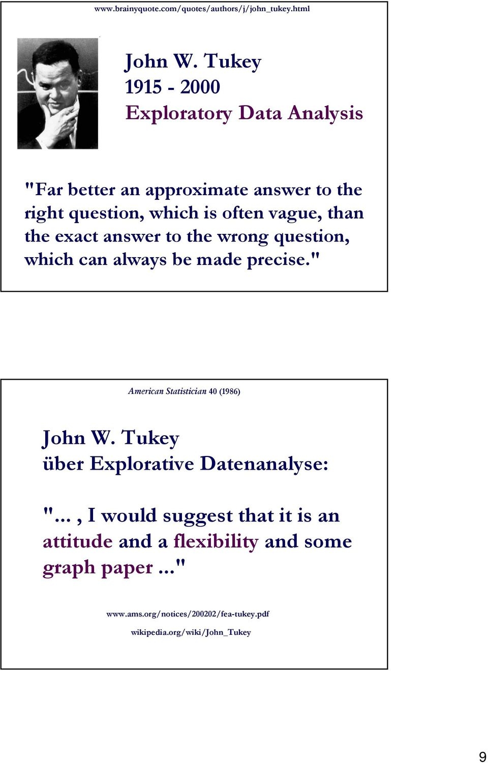 "the exact answer to the wrong question, which can always be made precise."" American Statistician (986) John W."