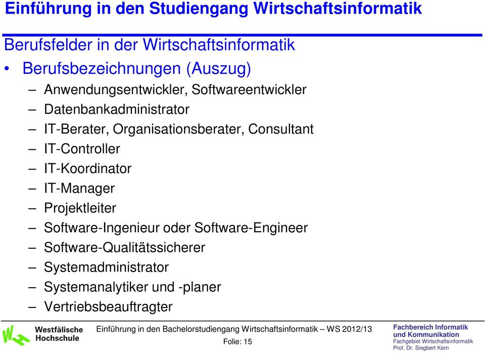 IT-Controller IT-Koordinator IT-Manager Projektleiter Software-Ingenieur oder Software-Engineer