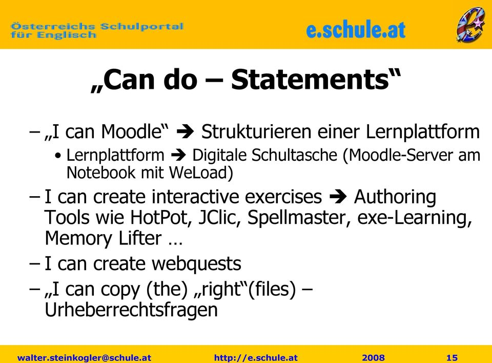interactive exercises Authoring Tools wie HotPot, JClic, Spellmaster,