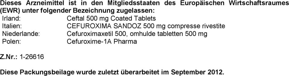 500 mg compresse rivestite Niederlande: Cefuroximaxetil 500, omhulde tabletten 500 mg Polen: