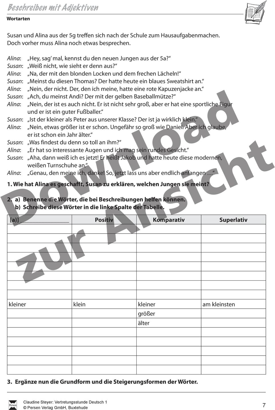DOWNLOAD. Vertretungsstunde Deutsch 1. 5./6. Klasse: Wortarten ...