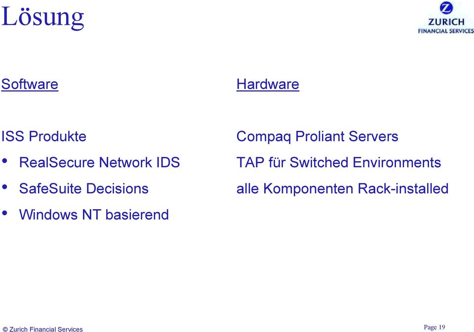 Compaq Proliant Servers TAP für Switched Environments
