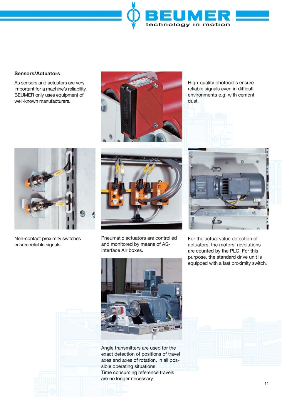 Pneumatic actuators are controlled and monitored by means of AS- Interface Air boxes. For the actual value detection of actuators, the motors revolutions are counted by the PLC.