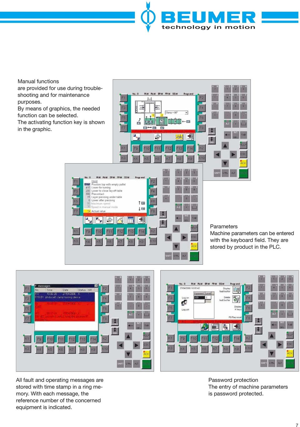 Parameters Machine parameters can be entered with the keyboard field. They are stored by product in the PLC.