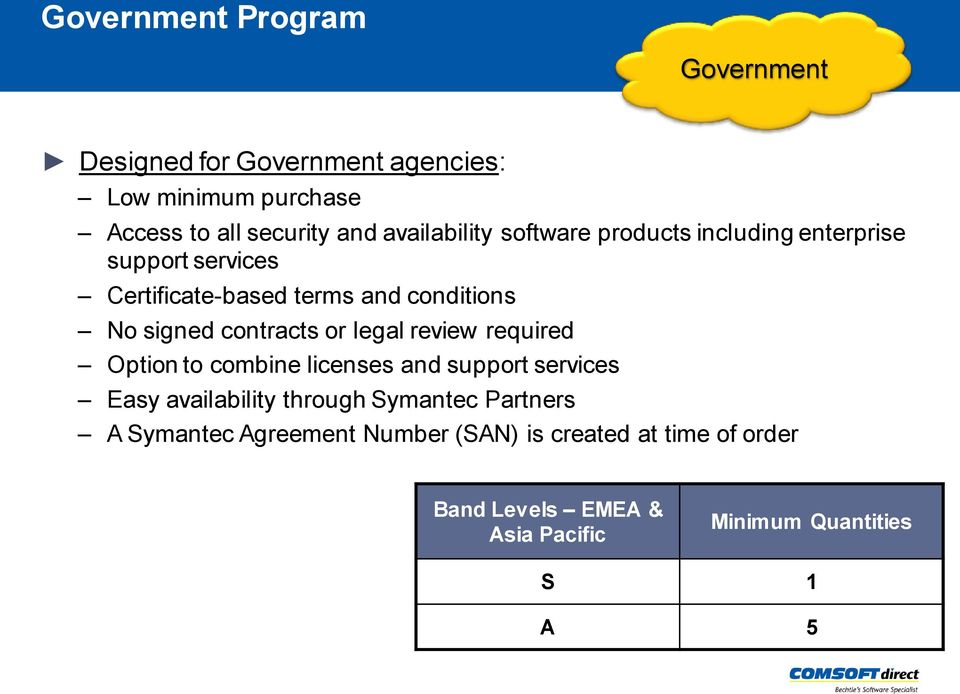 review required Option to combine licenses and support services Easy availability through Symantec Partners A Symantec