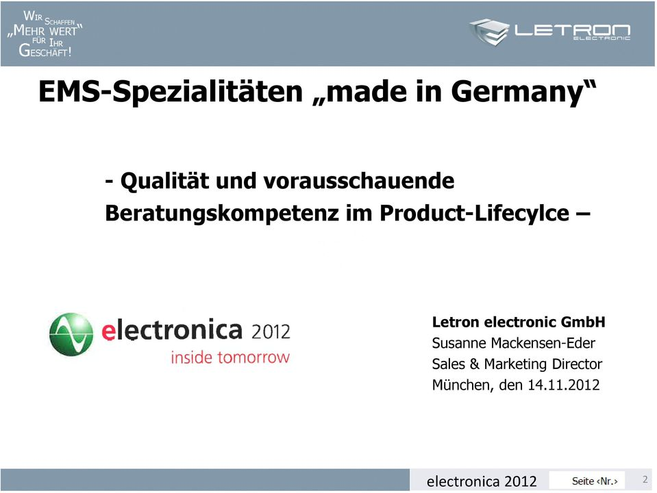 Product-Lifecylce Letron electronic GmbH Susanne