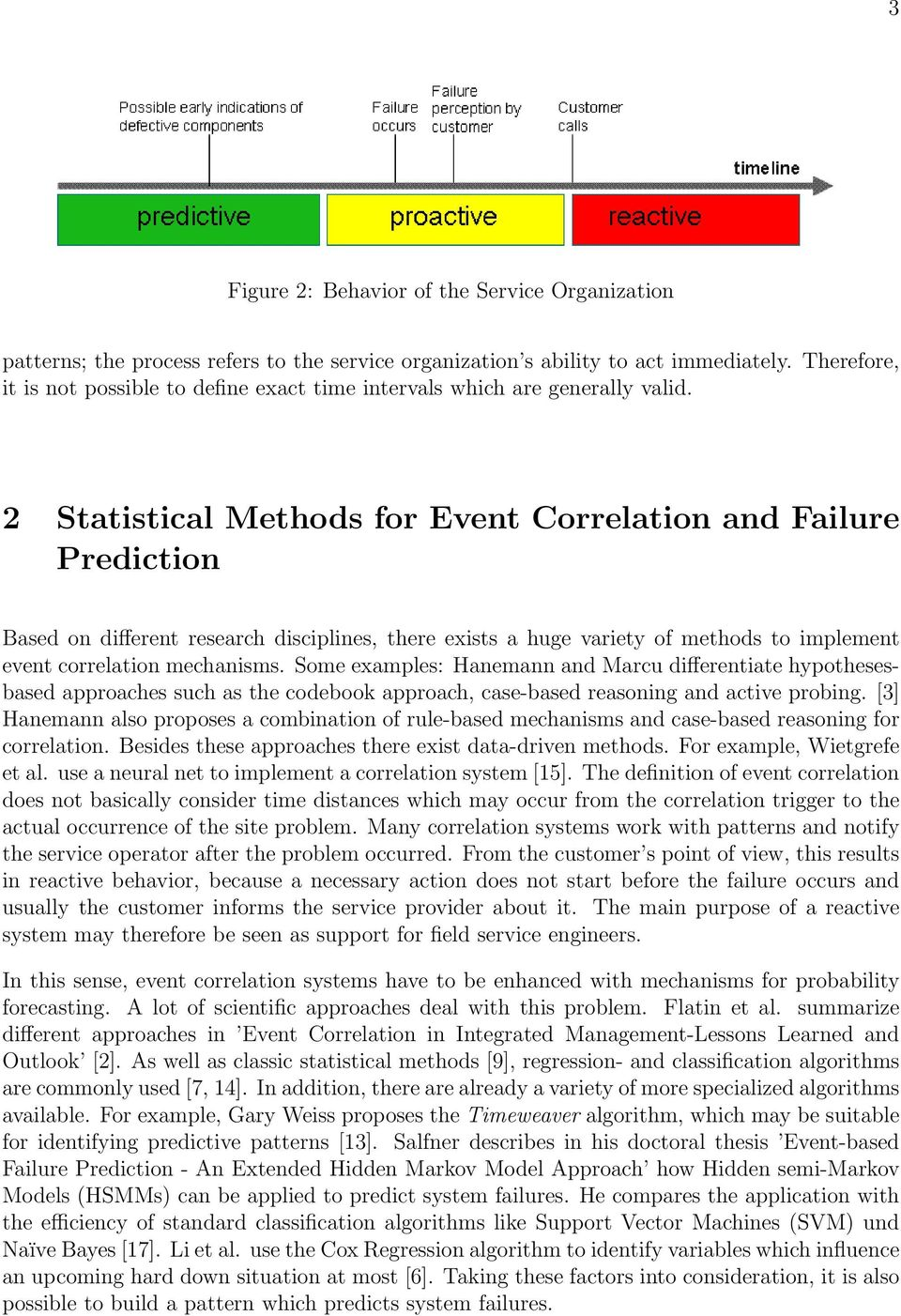 2 Statistical Methods for Event Correlation and Failure Prediction Based on different research disciplines, there exists a huge variety of methods to implement event correlation mechanisms.