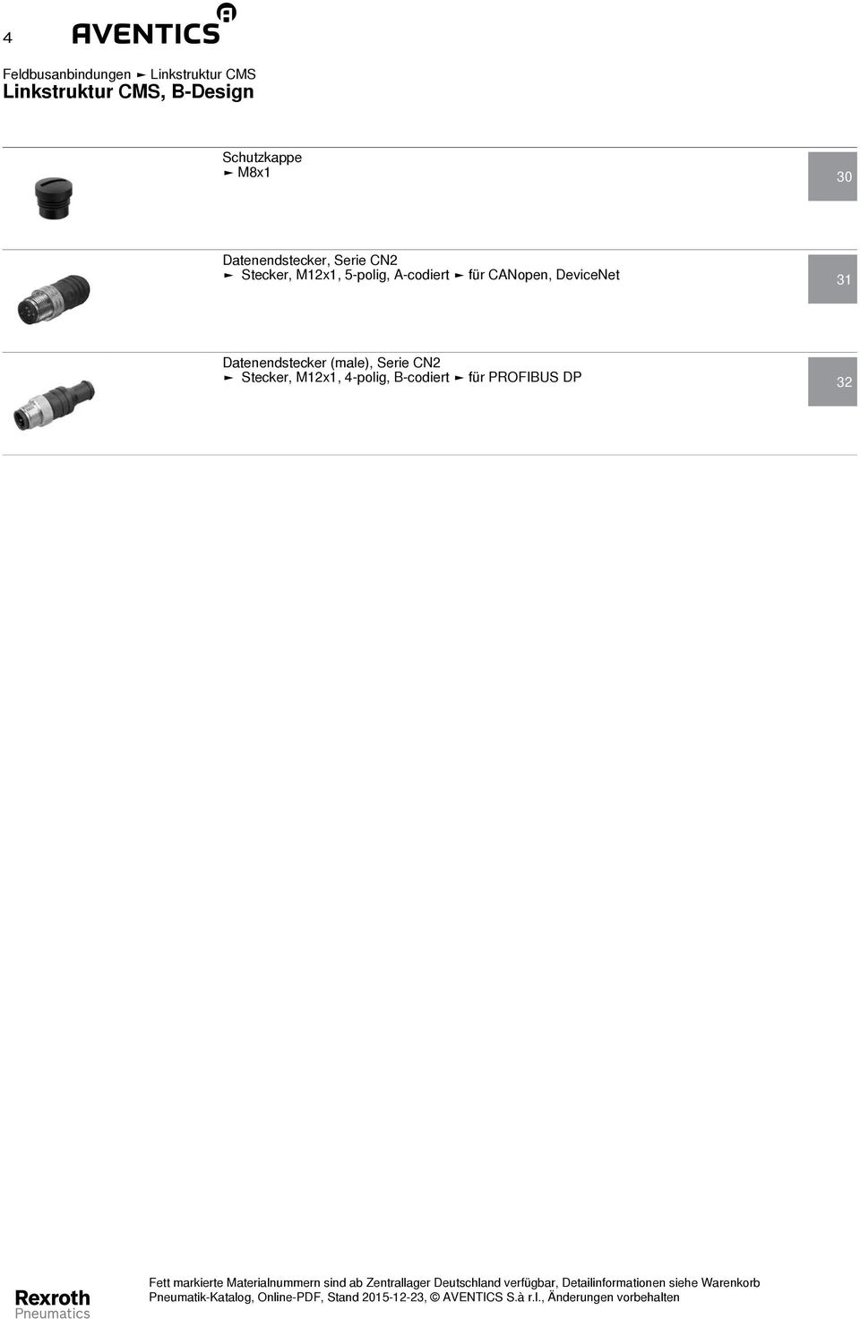 DeviceNet 31 Datenendstecker (male), Serie CN2