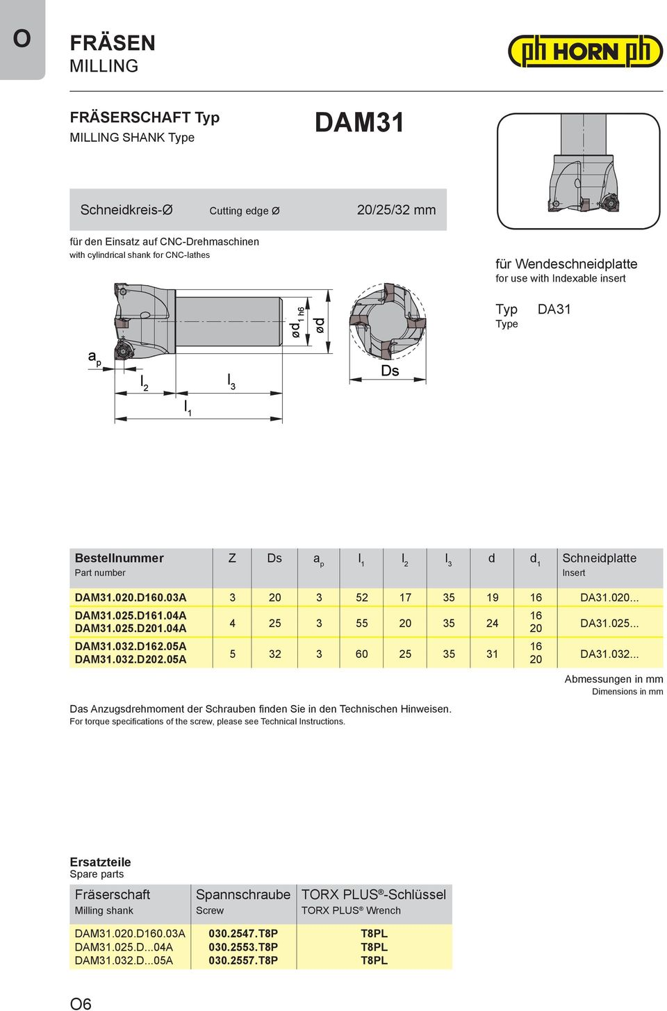 05A 5 32 3 60 25 35 31 20 Das Anzugsdrehmoment der Schrauben finden Sie in den Technischen Hinweisen. For torque specifications of the screw, please see Technical Instructions..025....032.