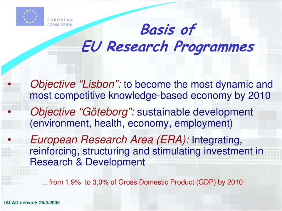 economy, employment) European Research Area (ERA): Integrating, reinforcing, structuring and stimulating