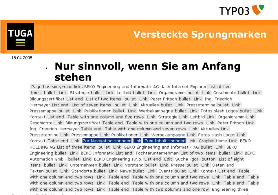 stehen Copyright by TYPO3 User