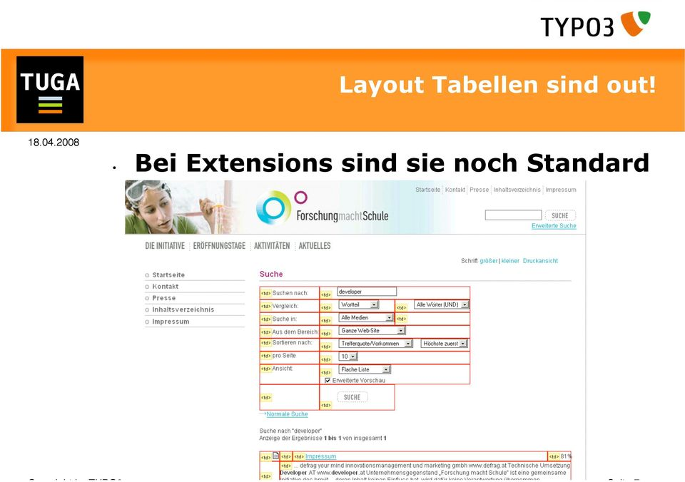 Standard Copyright by TYPO3