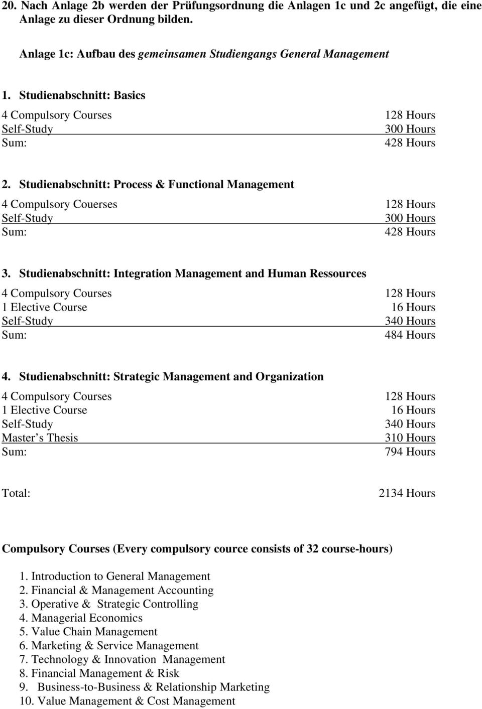 Studienabschnitt: Process & Functional Management 4 Compulsory Couerses 128 Hours Self-Study 300 Hours Sum: 428 Hours 3.