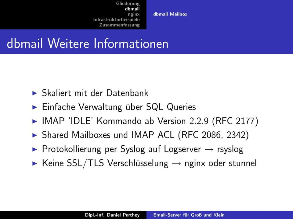 2.9 (RFC 2177) Shared Mailboxes und IMAP ACL (RFC 2086, 2342)