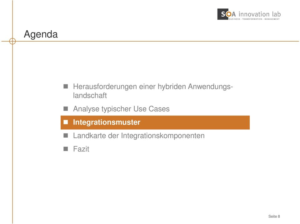 Use Cases Integrationsmuster Landkarte