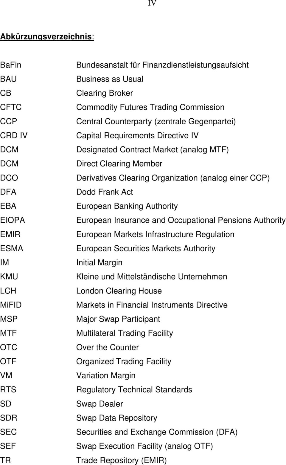 Clearing Member Derivatives Clearing Organization (analog einer CCP) Dodd Frank Act European Banking Authority European Insurance and Occupational Pensions Authority European Markets Infrastructure