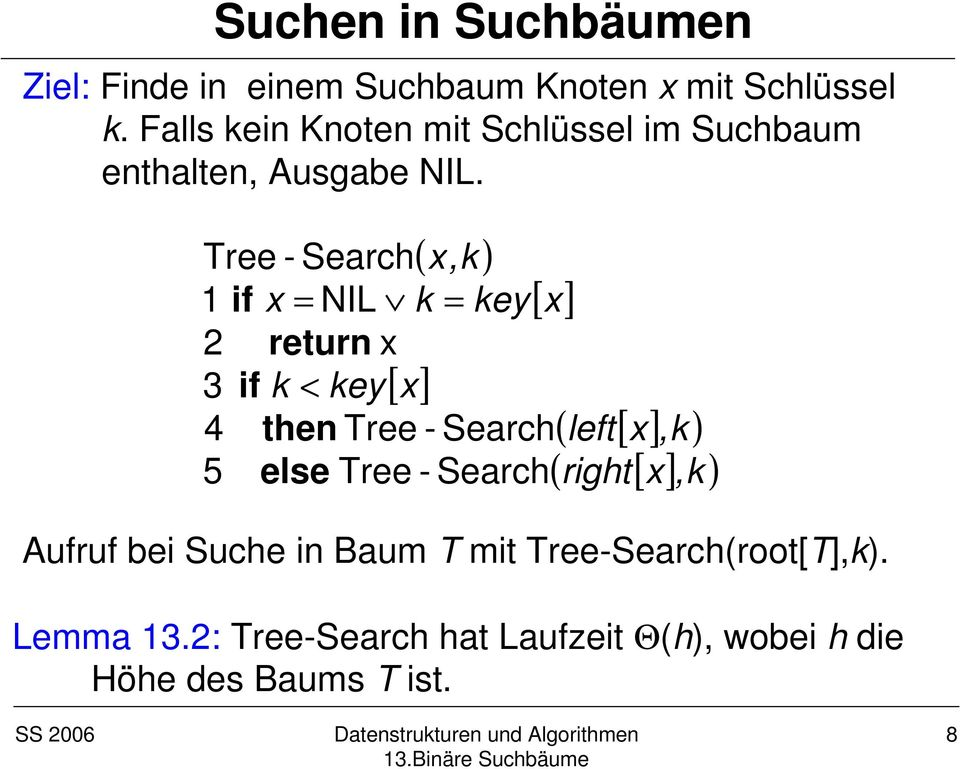 ( x,k ) Tree - Search 1 if x = NIL k = key[ x] 2 return x if k < key[ x] 4 then Tree - Search 5 else Tree