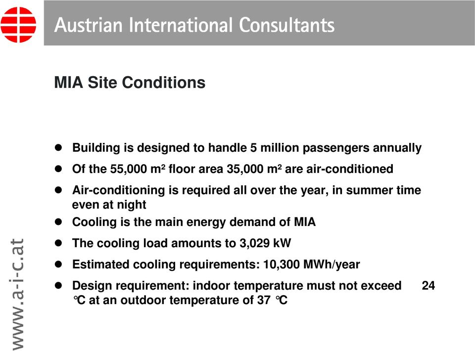 Cooling is the main energy demand of MIA The cooling load amounts to 3,029 kw Estimated cooling