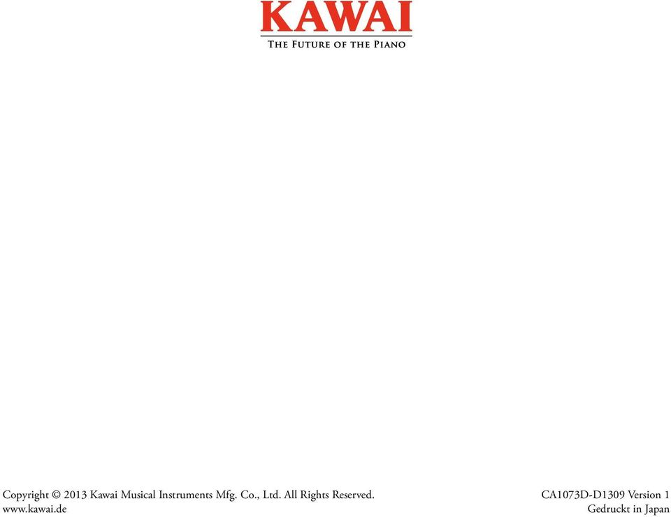 All Rights Reserved. www.kawai.