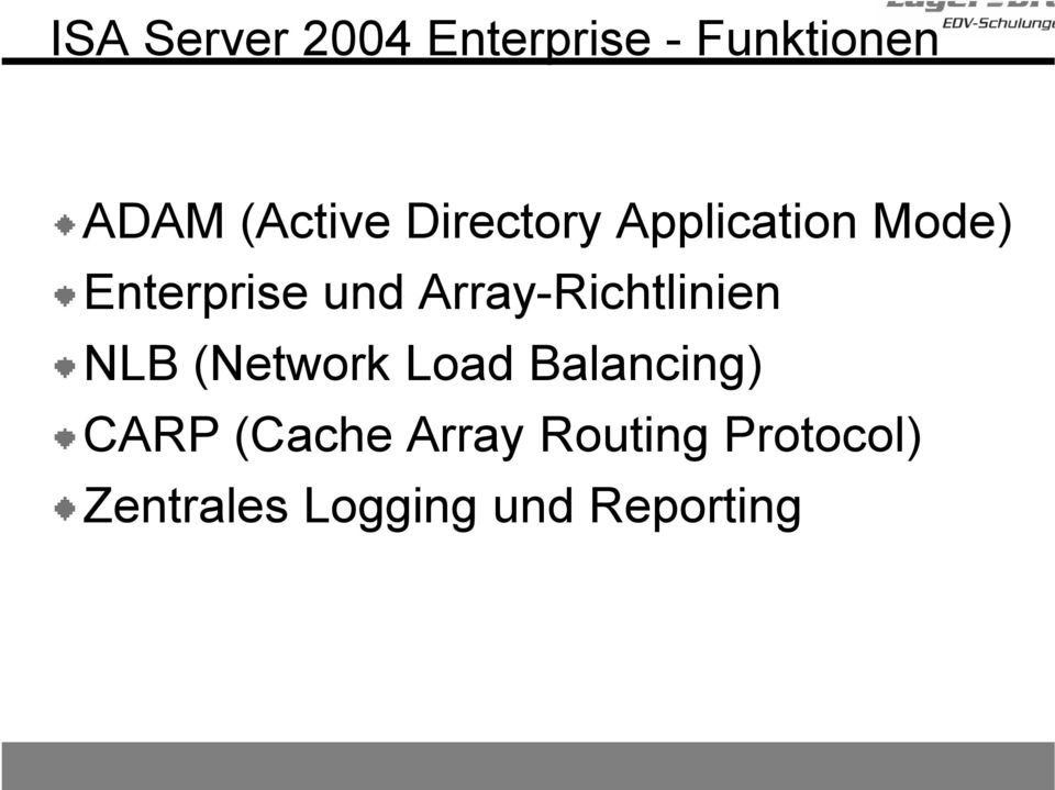 Array-Richtlinien NLB (Network Load Balancing) CARP