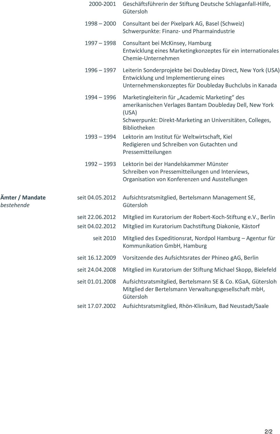 Implementierung eines Unternehmenskonzeptes für Doubleday Buchclubs in Kanada 1994 1996 Marketingleiterin für Academic Marketing des amerikanischen Verlages Bantam Doubleday Dell, New York (USA)